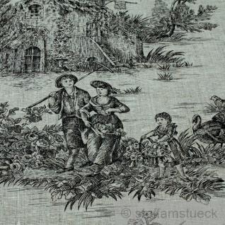 Stoff Leinen Toile de Jouy Ernte natur schwarz Reinleinen klassisch - Vorschau 5