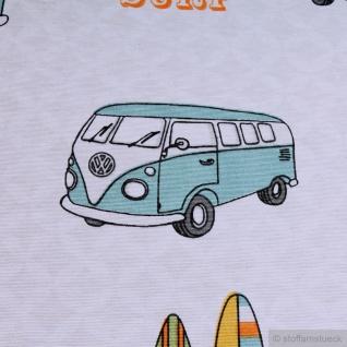 Stoff Baumwolle Polyester ecru VW Bulli T1 peace love surf - Vorschau 2