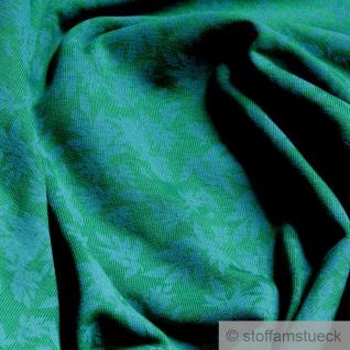 Stoff Baumwolle Elastan Single Jersey grün Blatt aqua angeraut Blätter - Vorschau 2