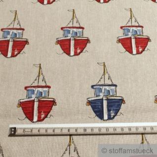 Stoff Baumwolle Polyester Rips natur Fischboot Leinenoptik Boot - Vorschau 2