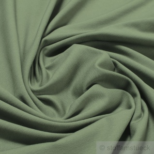 Stoff Baumwolle Elastan Single Jersey palmgrün T-Shirt Tricot weich dehnbar grün - Vorschau 1