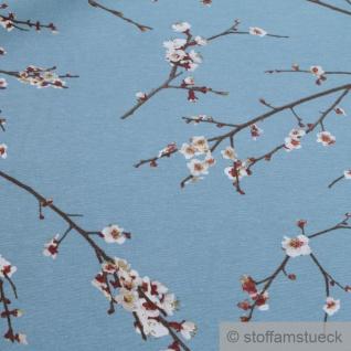 Stoff Baumwolle Polyester blau Kirschblüte Kirschblütenzweig - Vorschau 2