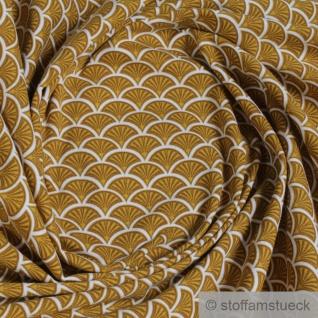 0, 5 Meter Stoff Baumwolle Elastan Single Jersey Fächer ocker weiß dehnbar weich