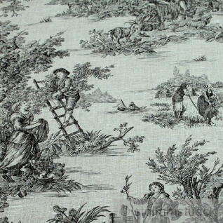 Stoff Leinen Toile de Jouy Ernte natur schwarz Reinleinen klassisch - Vorschau 2