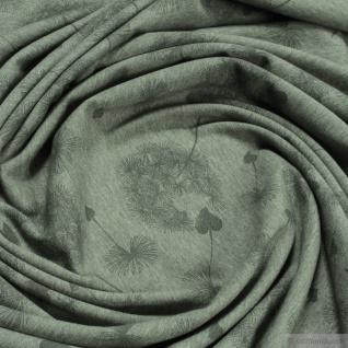 0, 5 Meter Stoff Baumwolle Polyester Elastan Single Jersey oliv Pusteblume