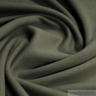 Stoff Baumwolle Single Jersey oliv angeraut Sweatshirt weich dehnbar kbA GOTS