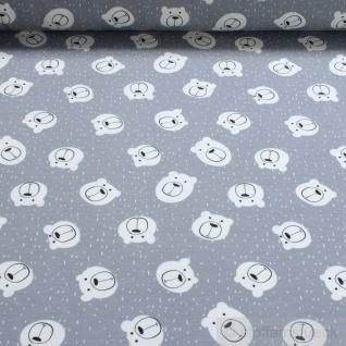 Stoff Kinderstoff Baumwolle Elastan Single Jersey grau Bär angeraut Teddybär
