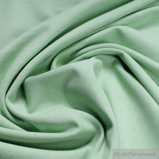 0, 5 Meter Stoff Baumwolle Single Jersey pastellgrün angeraut Sweatshirt weich