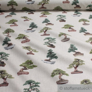 Stoff Baumwolle Polyester Rips natur Bonsai Bonsaibaum