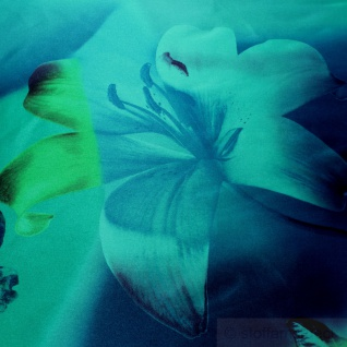 Stoff Polyester Kleidertaft türkis Orchidee petrol Taft bedruckt blickdicht - Vorschau 3