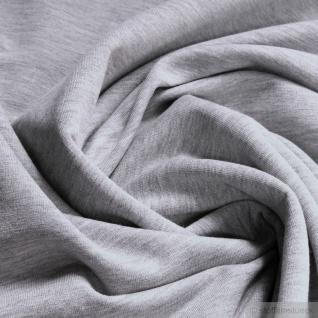 Stoff Baumwolle Single Jersey hellgrau meliert angeraut Sommersweat weich