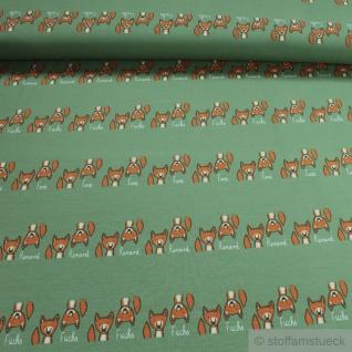 Kinderstoff Baumwolle Single Jersey grün Fuchs kbA GOTS Kleiner Fuchsbau Fox C. Pauli
