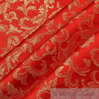 Stoff Polyester Jacquard Ornament rot gold Lurex Goldbrokat Barock Rokoko 280 cm überbreit