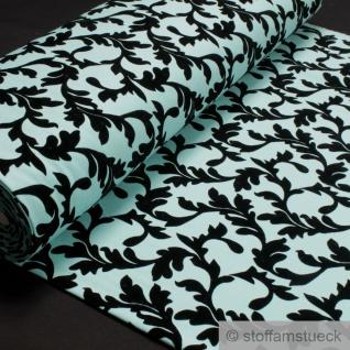 Stoff Polyester Viskose Elastan Interlock Jersey pastelltürkis Ornament schwarz