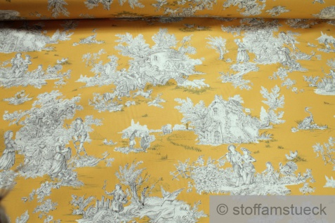 Stoff Baumwolle Toile de Jouy ländlich ocker ecru Land 280 cm breit