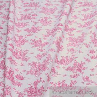 Stoff Baumwolle Toile de Jouy ländlich ecru pink Baumwollstoff Bettwäsche