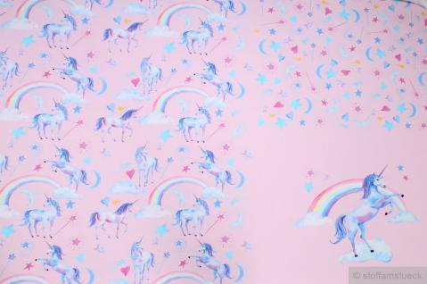 Stoff Panel Baumwolle Lycra Single Jersey rosa Einhorn angeraut Mond Stern Herz