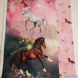 Stoff Panel Baumwolle Elastan Single Jersey rosa Pferd Schimmel