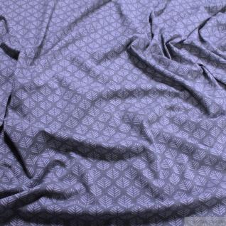 Stoff Baumwolle Elastan Single Jersey Blatt grau hellgrau Blättchen - Vorschau 1