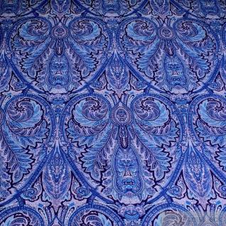 Stoff Baumwolle Popeline Ornament blau Baumwollstoff vielfarbig