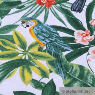 Stoff Baumwolle weiß Dschungel Papagei breit 280 cm Blatt Blätter Palme - Vorschau 5
