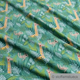 0, 5 Meter Kinderstoff Baumwolle Elastan Single Jersey grün Faultier Giraffe