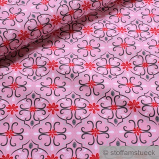 Stoff Bio-Baumwolle pink Ornament organic cotton Baumwollstoff