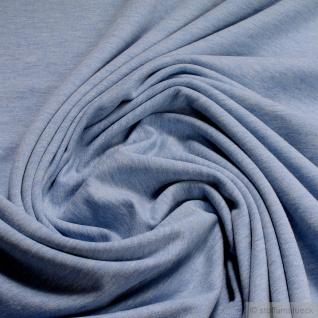 0, 5 Meter Stoff Baumwolle Polyester Elastan French Terry hellblau meliert