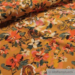 0, 5 Meter Stoff Baumwolle Elastan Single Jersey senf Blume bunt ocker