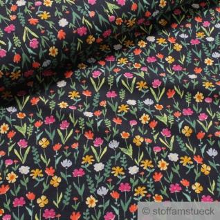 0, 5 Meter Stoff Baumwolle Elastan Single Jersey dunkelblau Blume Blumen