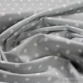Stoff Baumwolle Punkte klein hellgrau weiß Tupfen Baumwollstoff 160 cm grau