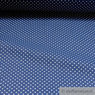 Stoff Baumwolle Punkte ganz klein marine weiß Tupfen Baumwollstoff blau