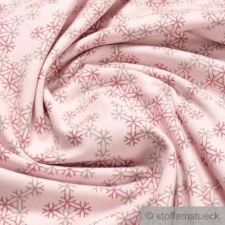 Stoff Baumwolle Elastan Single Jersey pastellrosa Schneeflocke angeraut