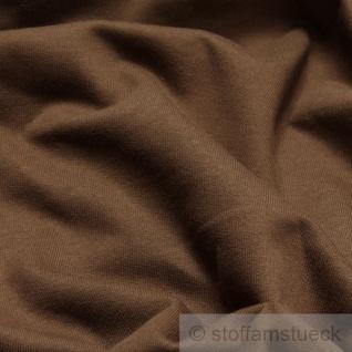 0, 5 Meter Stoff Baumwolle Single Jersey braun angeraut Sweatshirt weich dehnbar - Vorschau 2