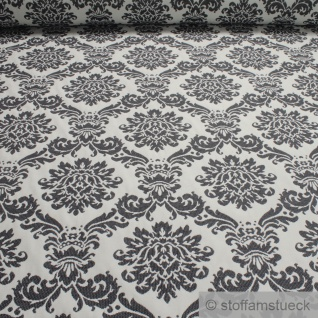 Stoff Polyester Baumwolle Jacquard Ornament off-white anthrazit breit 290 cm