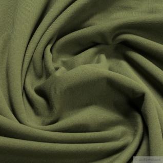 Stoff Baumwolle Single Jersey angeraut oliv Sweatshirt weich dehnbar khaki grün
