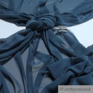 Stoff Polyester Chiffon jeansblau transparent leicht weich fallend blau