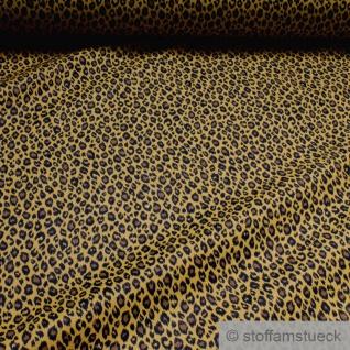 Stoff Baumwolle ocker Leopard Baumwollstoff weich leicht braun Print