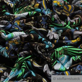 Stoff Viskose schwarz Blume blau fließend leicht weich Blumen farbenfroh - Vorschau 2