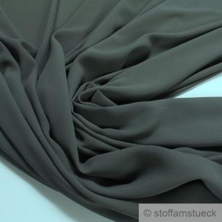 Stoff Polyester Crêpe de Chine leicht oliv knitterarm