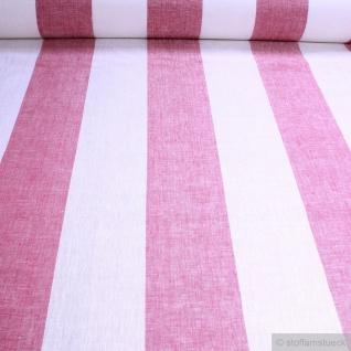 Stoff Leinen Leinwand Blockstreifen ecru pink leicht Reinleinen transparent
