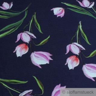 Stoff Viskose Elastan Single Jersey dunkelblau Tulpe pink fließend fallend - Vorschau 2