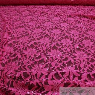 Stoff Polyamid Polyester Elastan Spitze pink Blume Pailletten fließend