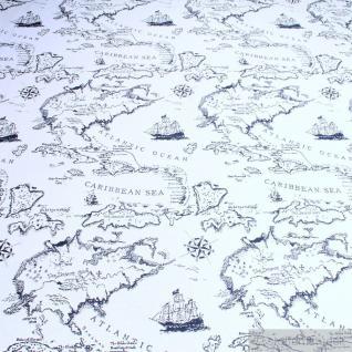 Stoff Baumwolle Polyester Gobelin Weltkarte antik Karibische See Spanish Main
