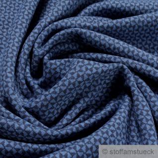 0, 5 Meter Recycelt Baumwolle Polyester Jacquard Jersey Raute dunkelblau blau