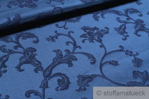 Stoff Baumwolle Polyester Jacquard marine Ranke dunkelblau 280 cm breit
