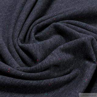 0, 5 Meter Stoff Baumwolle Polyester Elastan Jersey dunkelgrau meliert angeraut