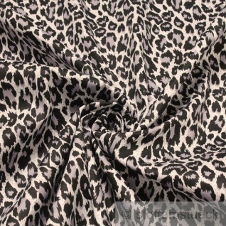 Stoff Baumwolle Elastan Köper grau Leopard Hemd Bluse Rock Animal Print