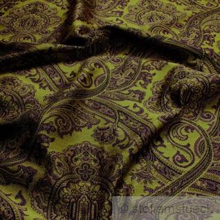 Stoff Viskose Polyester Jacquard Ornament grün lila Deko Kissen Vorhang