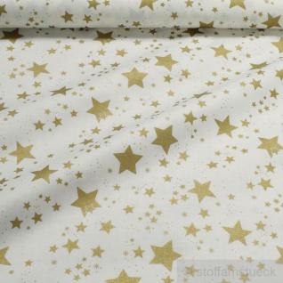Stoff Weihnachtsstoff Baumwolle Stern ecru gold Sternchen Baumwollstoff